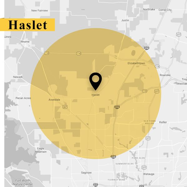 Service area map of Haslet Texas