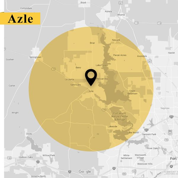 Service area map of Azle Texas