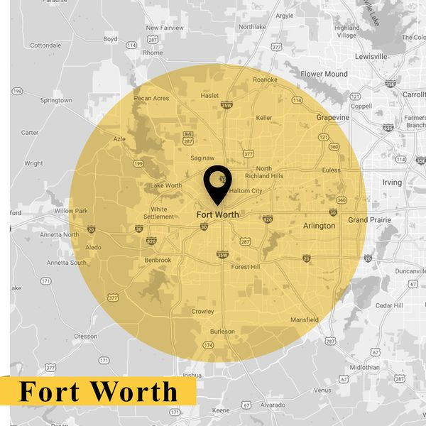 Service area map of Fort Worth