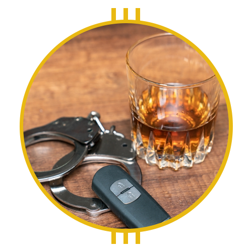 Image of a drink next to car keys and handcuffs
