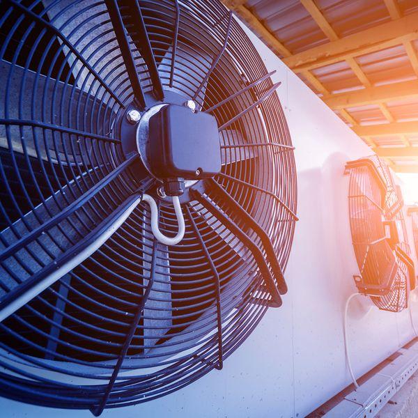 Large HVAC system of fans outside