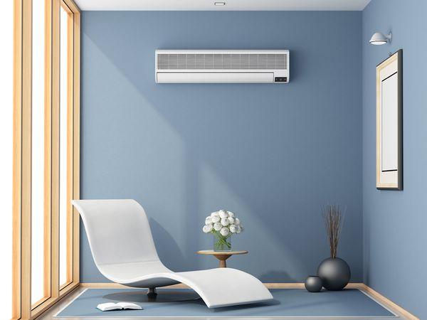 Mini-split air conditioner inside of a room