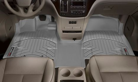 Overhead of car with aftermarket floor mats