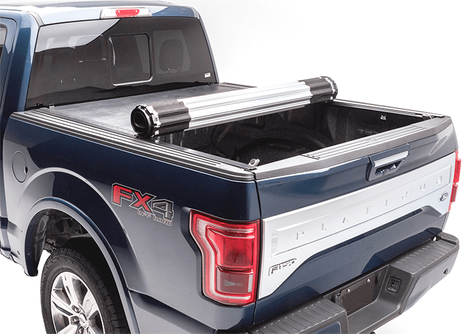 Blue truck with bed cover