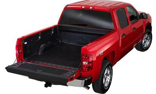 Red truck with tailget open