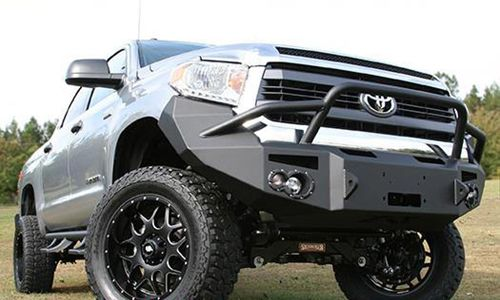 Truck with aftermarket grill guard