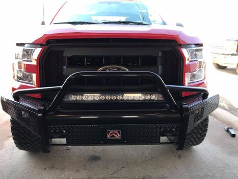 Truck with aftermarket bumper