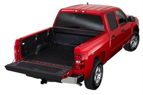 Red truck with trailgate down