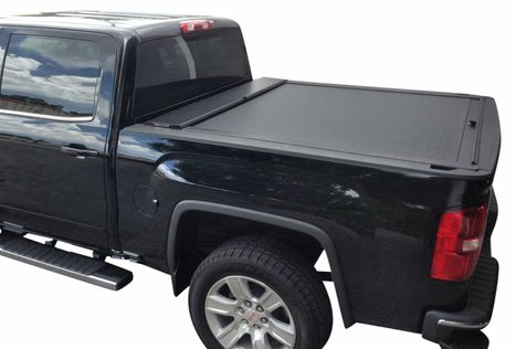 Black truck with bed cover