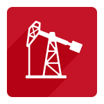 white oil rig icon on red square