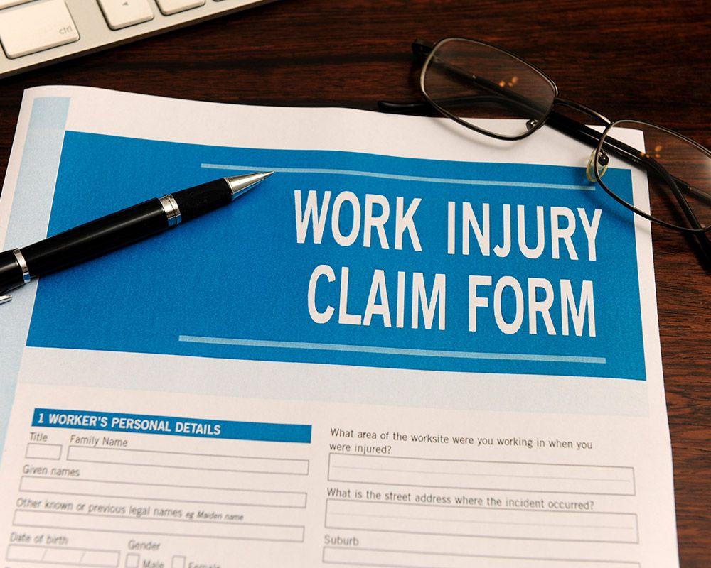 Photo of work injury claim form