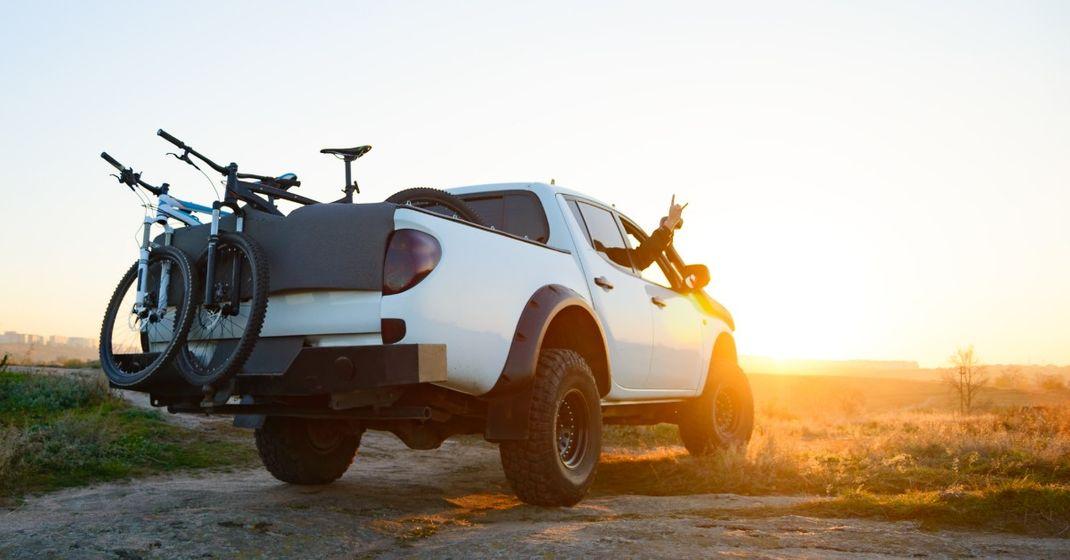 White truck at sunset