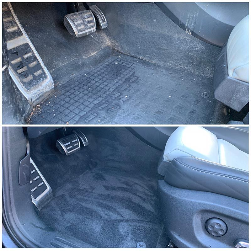 Car carpet before and after