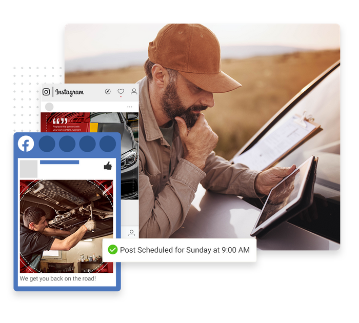 Auto shop social media scheduling tool