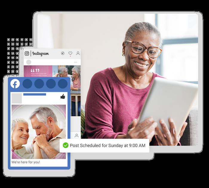 Assisted living social media scheduler