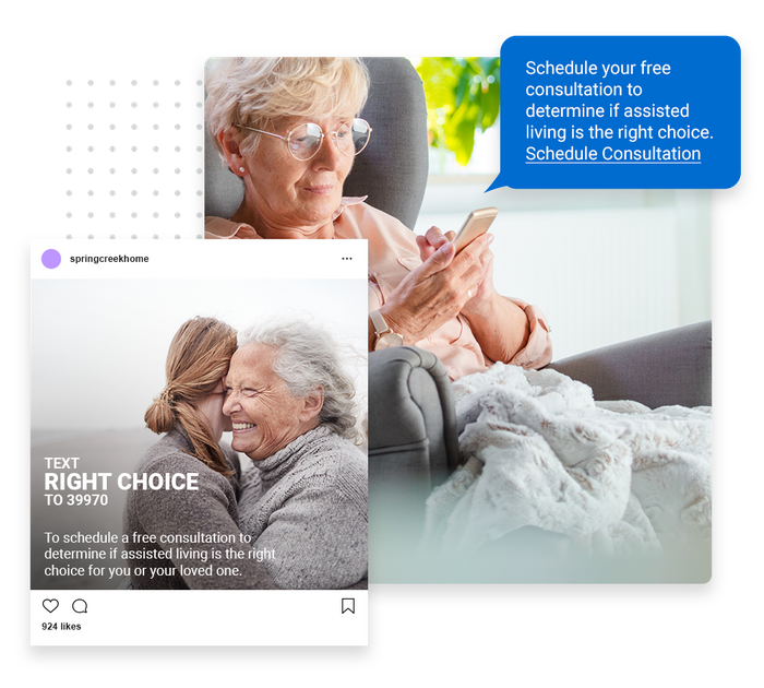 Assisted living text message marketing