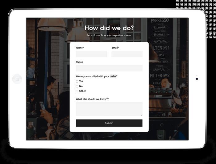 Coffee shop feedback form