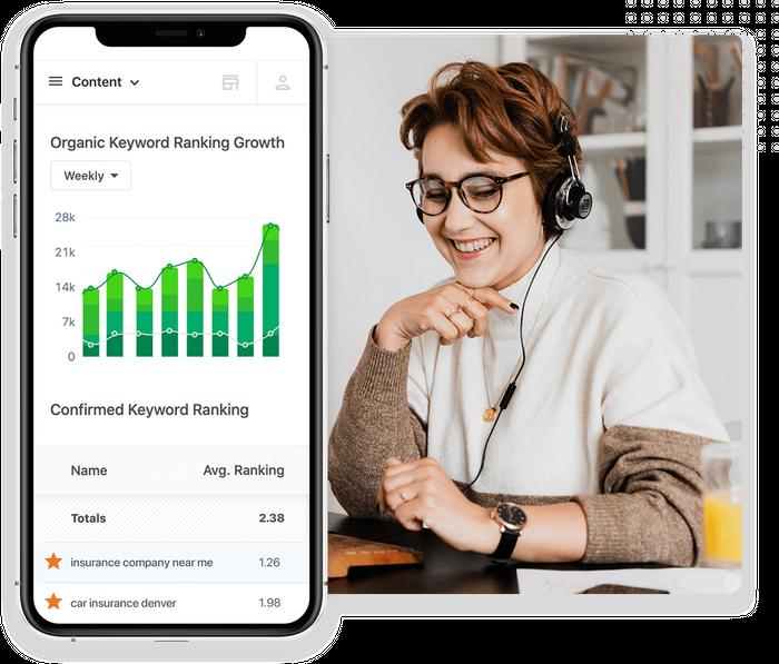 SEO keyword ranking growth chart