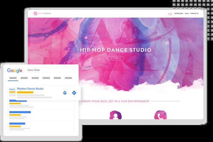 Google organic search listing dance studio