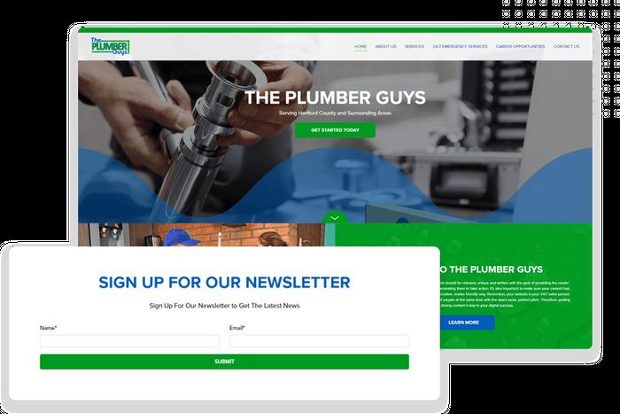 Plumber website newsletter sign-up