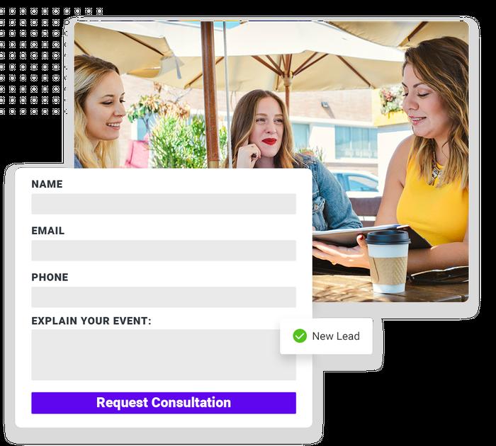 Event planner website forms