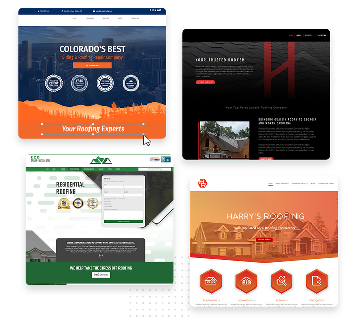 A montage of roofing website design templates