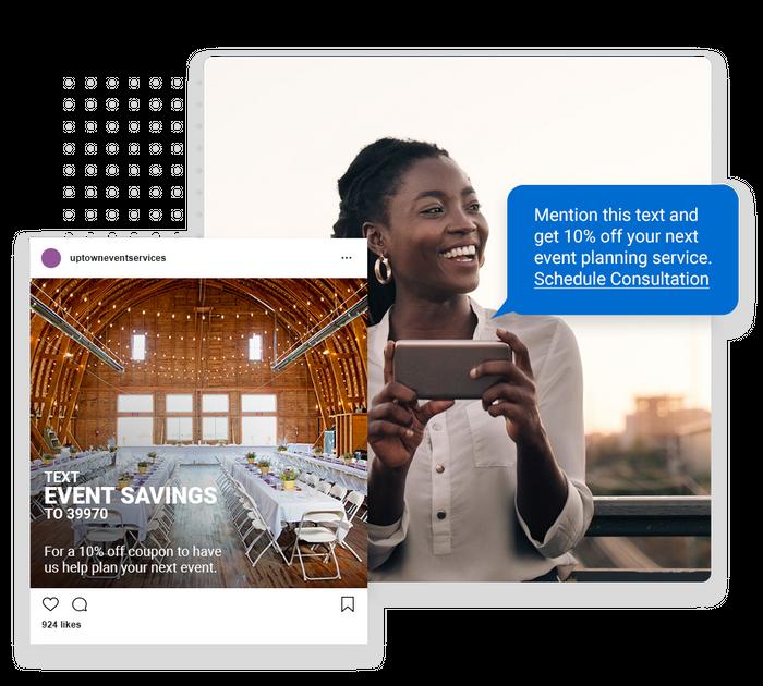 Event planner text message marketing