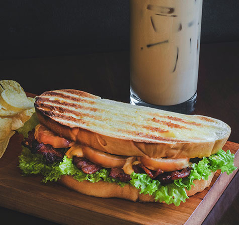 Grilled sandwich and iced coffee