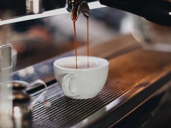 An espresso machine at a local coffee shop.