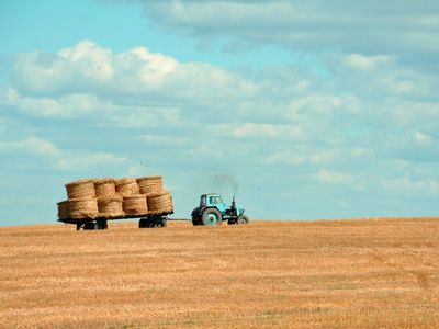 tractor pulling bales of hay