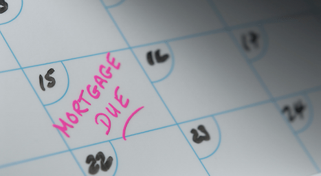 """Calendar with a note saying """"Mortgage Due"""""""