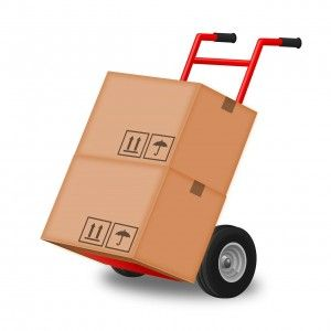 moving boxes on a dolly illustration