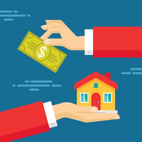 illustration of hands exchanging money for a house