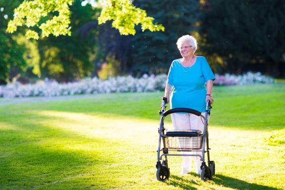 image of an elderly woman walking