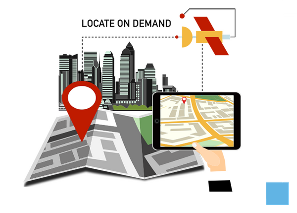 Illustration of a GPS and a city