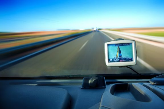 image of a semi truck on the road with GPS