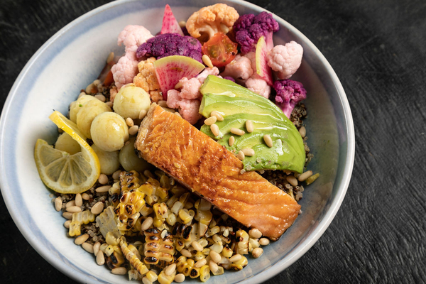 A sustainable salmon food bowl from The Smoking Carrot food truck in Austin