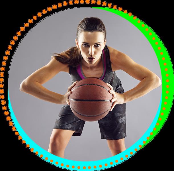 Woman holding a basketball.
