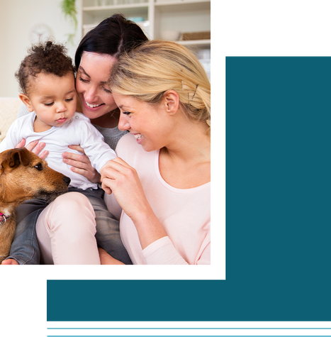 Family with baby and dog