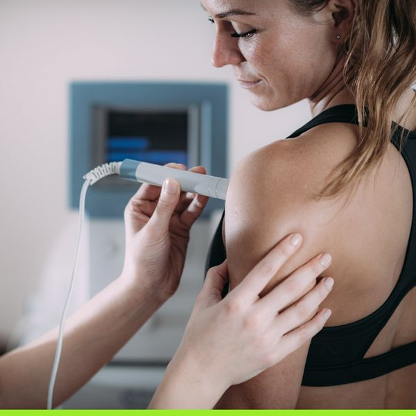 Woman getting an ultrasound on shoulder