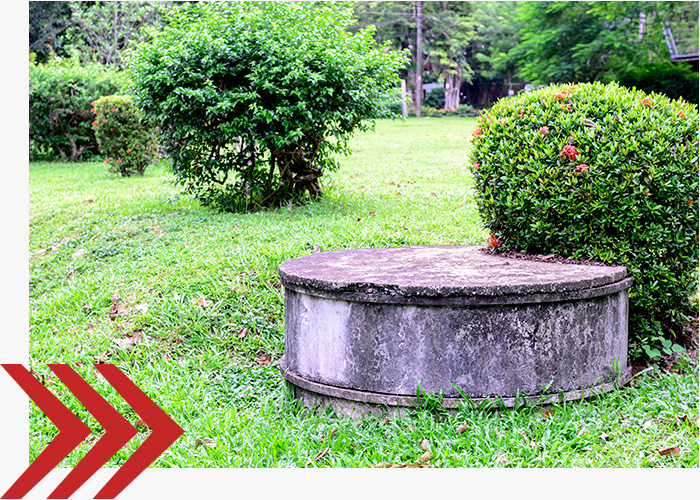 Septic tank in a yard.