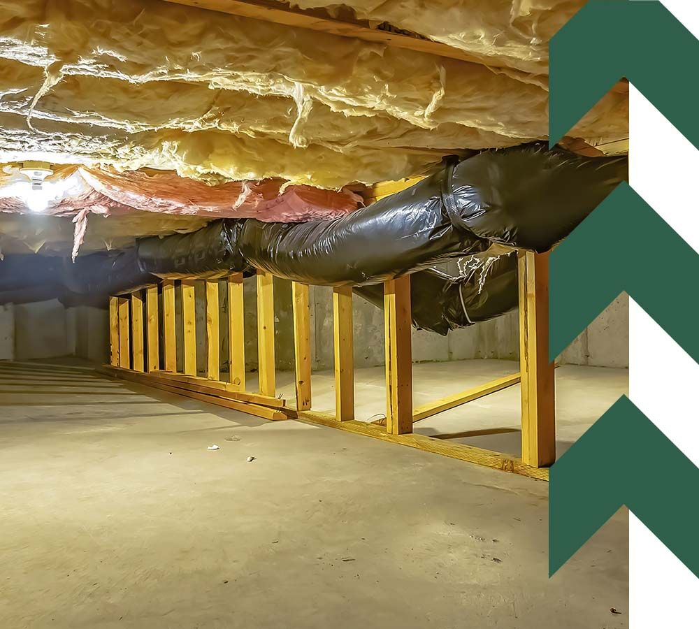 crawl space with upper floor insulation