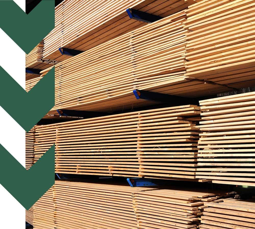 stacks of boards in lumber yard