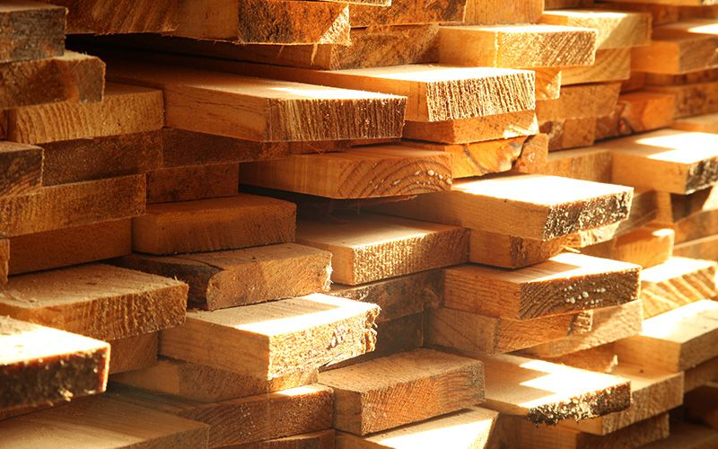 pile of lumber ready to be used in construction