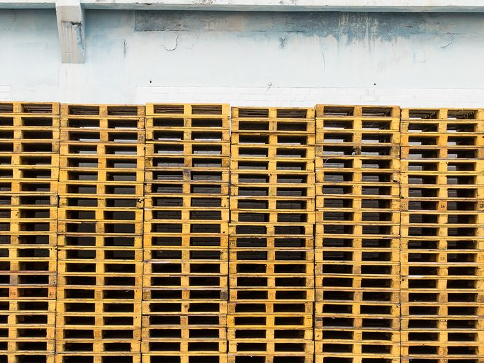 Large collection of pallets.