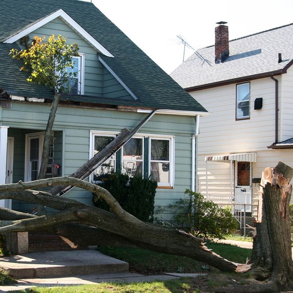 Downed tree due to storm causing damage to rooftop