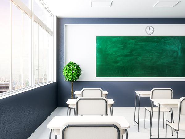 A school classroom with clean floors.