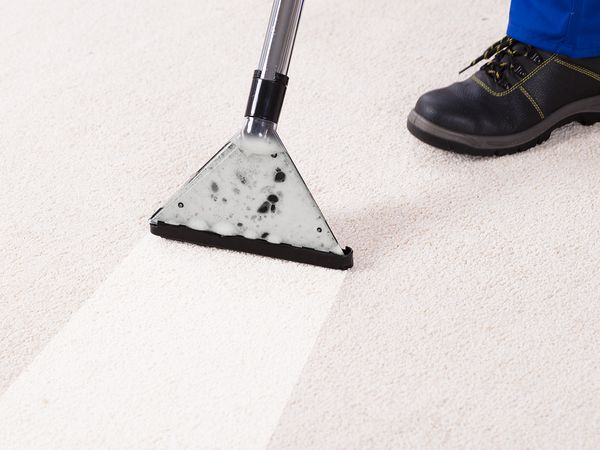 A close up of a carpet cleaner's abilities.
