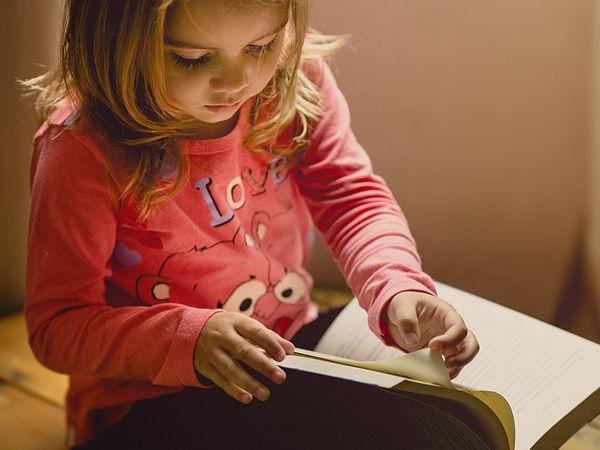 A toddler reading a book.