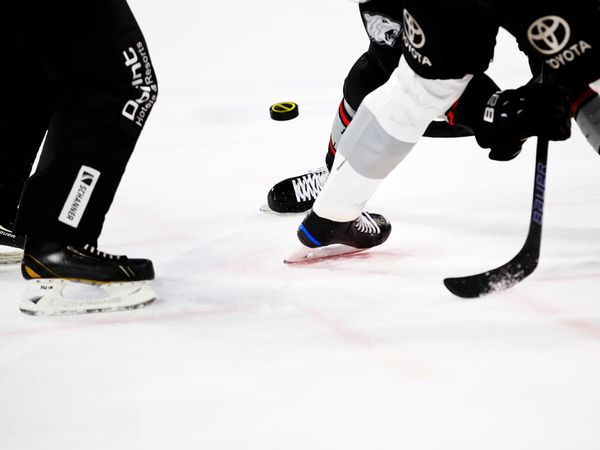 A faceoff with two hockey players